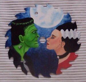 "Halloween Frankenstein & bride HAND PAINTED 7"" GIFT OOAK saw blade metal art"