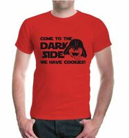 Herren Unisex Kurzarm T-Shirt Come to the Dark Side, we have Cookies Fun Sprüche