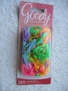120 Goody Ouchless No Metal Elastics Wide Bright Neon Silicone Small Hair Bands