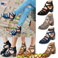 Women Wedge Med Heels Bandage Sandals Ladies Summer Ankle Strap Shoes Size 6-10