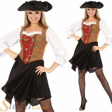 Ladies Pirate Wench Sailor Caribbean Halloween Fancy Dress Costume Outfit