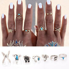 Retro 6X/Set Silver Boho Arrow Turquoise Moon Elephant Midi Finger Knuckle Rings