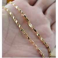 "Never Lose Colour 16""-30"" 2.5mm 18K Yellow Gold Plated Curb Chain Necklace Gift"