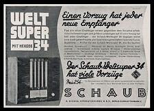 Alte Reklame 1933 Weltsuper 34 mit Hexode Schaub Apparatebaugesellschaft Radio