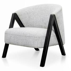 Light Grey Occasional armchair with black legs and armrest / Fabric accent chair
