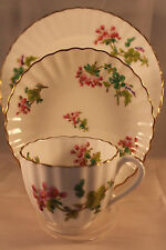COALPORT GERANIUM PATTERN TRIO CUP SAUCER & PLATE HAND PAINTED EARLY ANTIQUE