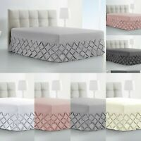 LUXURY PINTUCK VALANCE BED SHEET 100% COTTON 200TC SINGLE DOUBLE SUPER KING SIZE