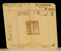 """Circa 1945, Babe Ruth Signed, """"The Commodore Hotel"""" Receipt, JSA Full Letter"""