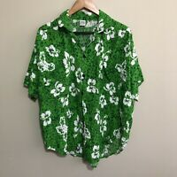Cool Zone Hawaiian Floral Button-Front Short Sleeve Shirt Green Large