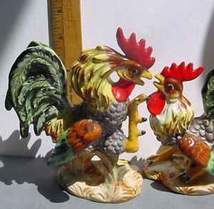 Vtg LEFTON'S Exclusives Fighting Rooster & Chicken Ceramic Figurines Exc Japan