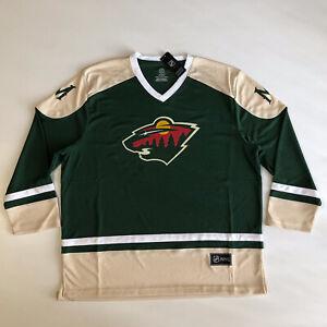 NEW Men's NHL MINNESOTA WILD Hockey Green LS V Neck Jersey Sz L