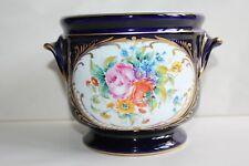 Superbe rafraîchissoir en porcelaine de Couleuvre , bleu de four et fleurs signé