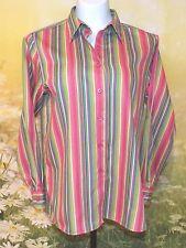 FOXCROFT Hot Pink Multi Striped Non-Iron Cotton Classic Fit LS Shirt 4P S $86
