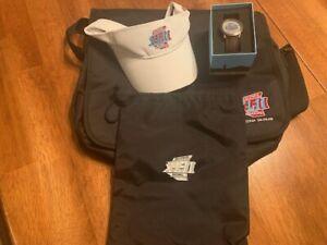 Superbowl XLII (42) NEW Gift Package NY GIANTS Memorabilia Watch / Visor Bag