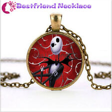 Nightmare Before Christmas skull red jack bronze necklace jewelry#TKL10