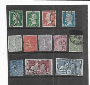 FRANCE 1924. SELECTION OF 12. FINE USED. AS PER SCAN