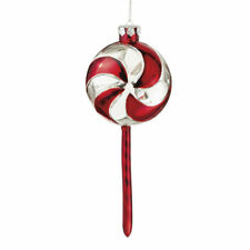 Peppermint Twist LG Lollipop Glass Christmas Ornament