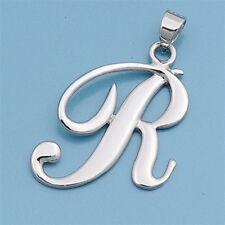 Alphabet Initial Pendant Sterling Silver 925 Rhodium Plated Jewelry Letter R