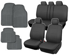 Car Seat Covers Gray Polyester Cloth Front/Rear Split Bench + Rubber Floor Mats