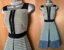 Karen Millen UK 14 Black Ivory Neon Tweed Zip Detail Fit Flare Casual Dress EU42