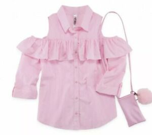 BNWT BEAUTEES Big Girls Sz L Pink Stripe Cold Shoulder Button Front Sells $38