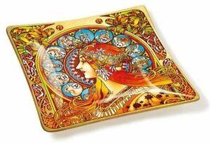 Amia Art Nouveau Zodiac Handcrafted Glass, Tray, Multicolored