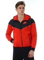 Men's Nike Windrunner Fleece Mix Red/Black Full Zip Hoodie