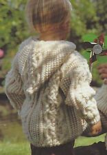 """Hooded Aran Jacket Knitting Pattern with Pockets 20-26"""" Girls and Boys  775"""