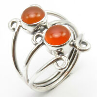 925 Solid Sterling Silver Carnelian Ring Size 6.25 Face Width 17 mm 3.6 Grams