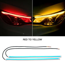 2x 60CM Red DRL Turn Signal Light Strip Yellow Flowing Sequential LED Tube Lamp