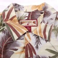 Caribbean Joe Hawaiian Shirt Men's Medium Short Sleeve Floral Red Yellow Green