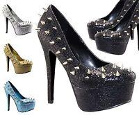 Ladies Stiletto Heel Platform Spikes Studs Court Shoes Women Glitter Boots Pumps