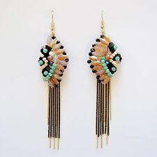 Boho Diamond Blush Tassel Dangle Earrings Metal Gold & Black
