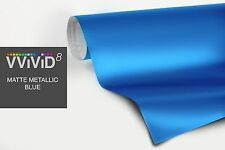 "7ft x 60"" Metallic blue matte vinyl car wrap DIY sheet roll film satin decal"
