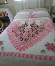 "Vintage Chenille Bedspread Double Peacock in Heart Pinks 93"" x 102"""