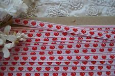 """1y VTG 1/4"""" RED HEARTS WOVEN JACQUARD NOVELTY RIBBON TRIM TAPE LACE DOLL DRESS"""