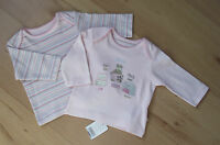 MOTHERCARE Baby Girls Set Long Sleeved Tops Tiny & New Baby Pink Multi Cotton