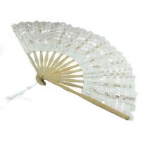 1X(Handmade Cotton Lace Folding Hand Fan for Party Bridal Wedding Decoration 4I
