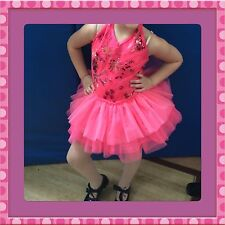 Beautiful Pink Ballet recital dress With Hair Clip Size MC Fits 6yr old