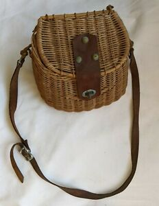 Beautiful ANTIQUE Vintage WICKER FISHING CREEL Basket w/ Leather Strap & Clasp