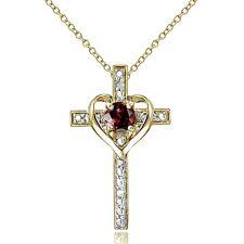 18K Gold over Sterling Silver Garnet & Diamond Accent Cross Heart Necklace