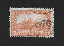 """Hungary Stamp 1920-1924 Parliament - Inscription """" Magyar Kir Posta"""" 25 Kr (C1)"""