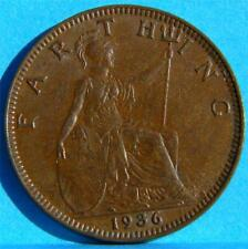 GREAT BRITAIN/UK, George V: 1936 bronze Farthing, last yr; brown UNC