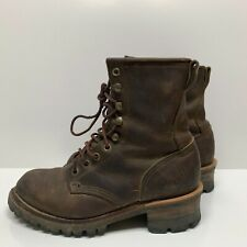 Frye Leather Logger Boots Vtg Brown Made In USA Womens Size 9