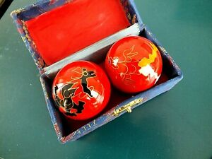 CHINESE BOADING STRESS RELEASE HEALTH THERAPY RED  DRAGON PHOENIX EXERCISE BALLS