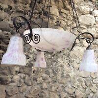 French Art Nouveau Chandelier Ceiling Light Fixture Dome Purple Glass antique