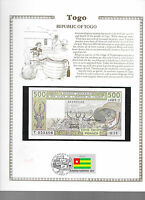 West African Togo Banknote 1985 500 Francs UNC w/FDI UN FLAG STAMP P 806Th  O.13