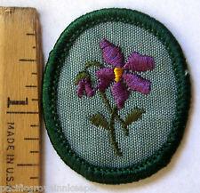 Vintage 1970's Girl Scout PURPLE VIOLET TROOP CREST Flower Patch Badge Troop ID