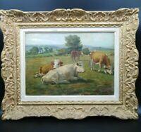 Tableau ancien pâturages vaches  Rosa Bonheur paysage pastorale .