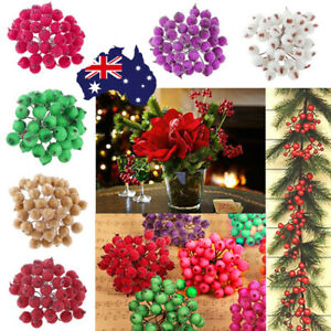 40xMini Christmas Foam Frosted Fruit Artificial Holly Berry Flower Home Decor